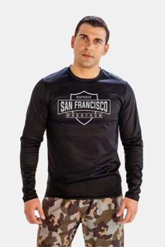 Men's LS Tech Tee - Black 'Shield Design' - SF Marathon