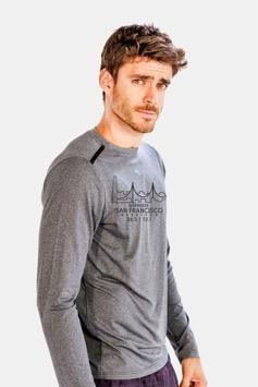 Men's LS Tech Tee - Grey 'Span Design' - SF Marathon