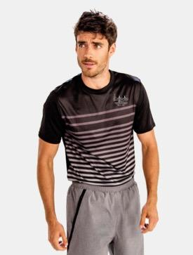Men's SS Fade Stripe Tech Tee - Black 'Span Design' - SF Marathon