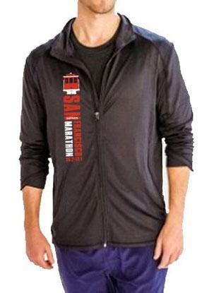 Men's Glossy 4-Way Stretch Zip Jacket - Black 'CableCar Design' - SF Marathon