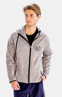 Men's Thumbhole Zip Hoody - Light Grey 'Span Design' - SF Marathon