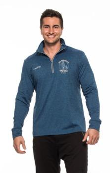 Men's Heathered 1/4 Zip - Blue 'Round Design' - SF Marathon
