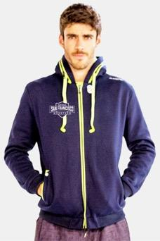 Men's Speaker Zip Hoody - Navy 'Shield Design' - SF Marathon