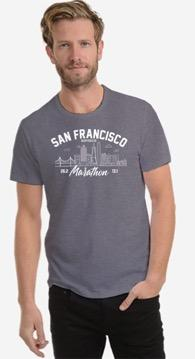 Men's SS Mesh Tech Tee - Heather Grey 'Arch Design' - SF Marathon