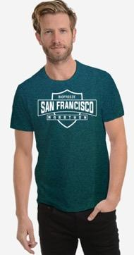 Men's SS Mesh Tech Tee - Deep Green 'Shield Design' - SF Marathon
