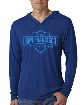 Men's Lightweight Hoody Tee - Blue 'Shield Design' - SF Marathon