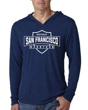 Men's Lightweight V-Neck Hoody Tee - Heather Navy 'Shield Design' - SF Marathon