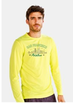 Men's LS Tech Tee - Yellow 'Arch Design' - SF Marathon