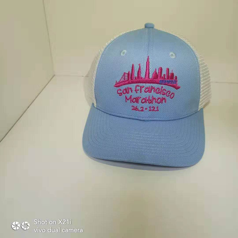 Snap-Back Trucker - Light Blue 'Skyline Design' - SF Marathon