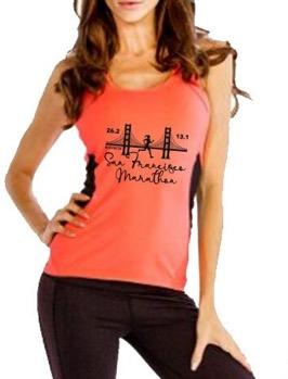 Women's Racerback Mesh Tech Tank - Orange 'Bridge Design' - SF Marathon