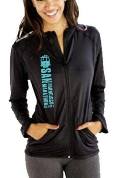 Women's Ltwt Glossy Zip Jacket - Black 'CableCar Design' - SF Marathon
