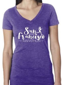 Women's SS Triblend V-Neck Tee - Purple 'Script Design' - SF Marathon