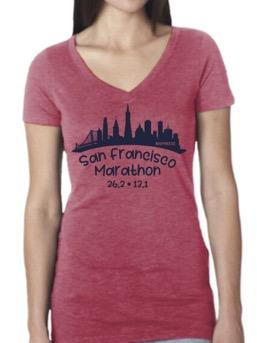 Women's SS Triblend V-Neck Tee - Dark Red Melange 'Skyline Design' - SF Marathon