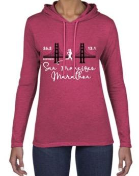 Women's Fashion Hoody Tee - Dark Red 'Bridge Design' - SF Marathon