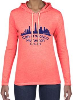 Women's Fashion Hoody Tee - Neon Pink 'Skyline Design' - SF Marathon