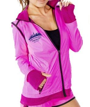 Women's Ltwt Nylon/Pique Zip Jacket - Candy Pink 'Skyline Design' - SF Marathon