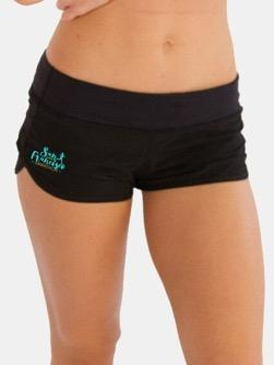 Women's Mesh Lining Sporty Shorts - Black 'Script Design' - SF Marathon