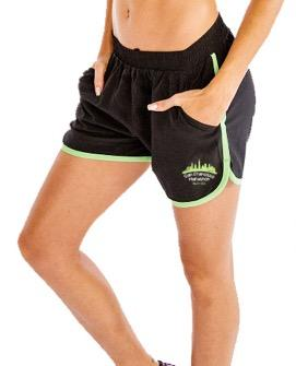 Women's Gym Shorts - Black/Green Accents 'Skyline Design' - SF Marathon
