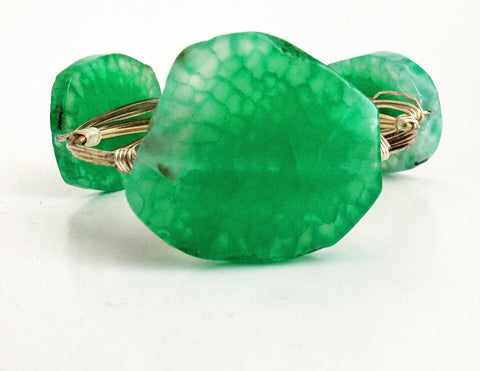 the BOBBY Bangle with Natural Sliced Agate - Aqua