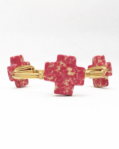 the BOBBY Bangle with Marbled Stone Cross
