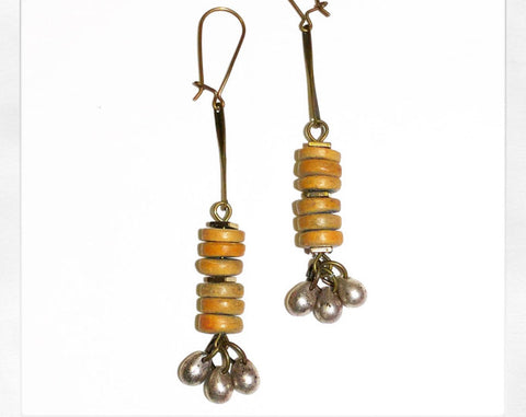 the DRUM and BASS dangle earrings