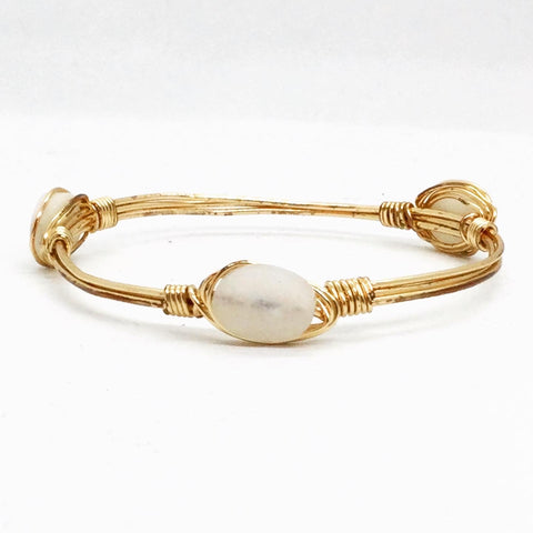 the BOBBY Bangle with Natural Stone - White Oval