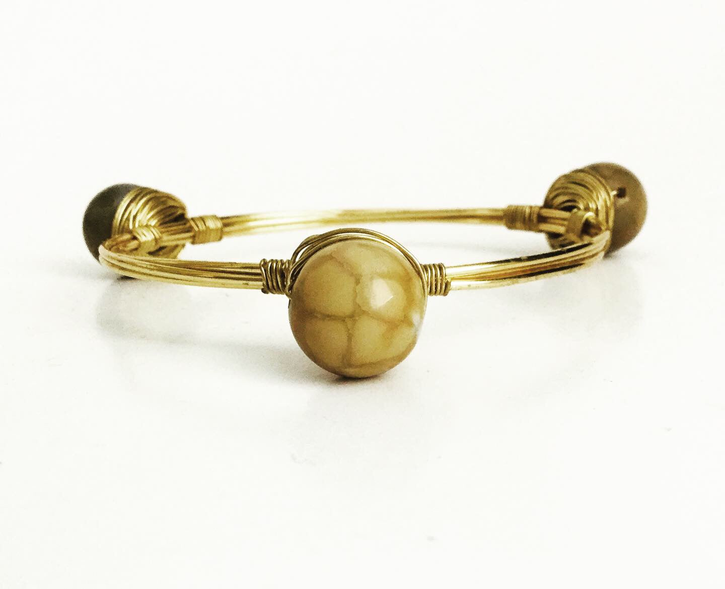 The BOBBY Bangle with Organic Agate Beads