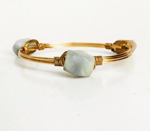 the BOBBY Bangle with Amazonite Stone