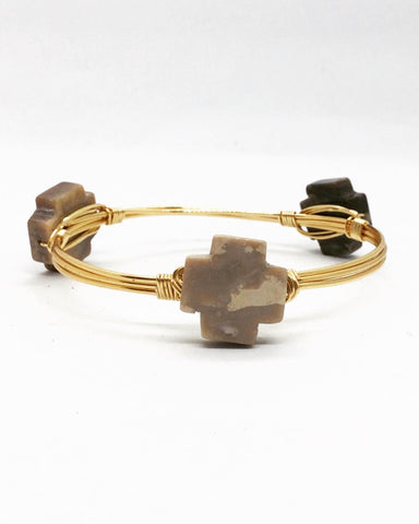 the BOBBY Bangle with Petrified Wood Cross