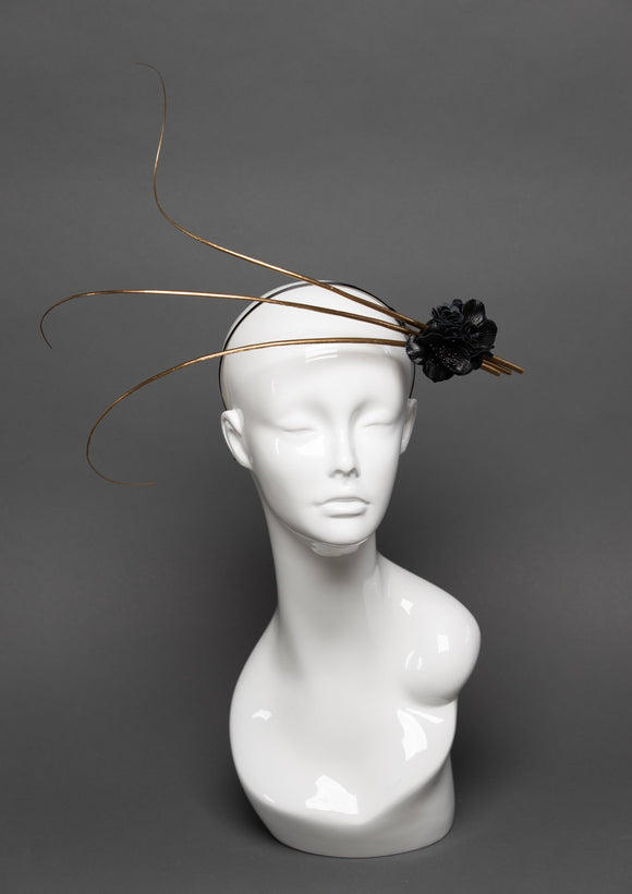 THG2811 - Chic Gold Fascinator w/ Black Leather Flowers