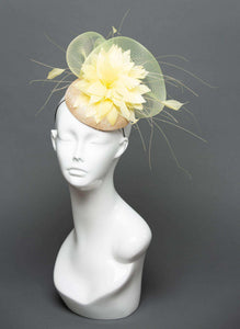 THG2321 - Pale Yellow Crinoline and Feather Fascinator - The Hat Girls
