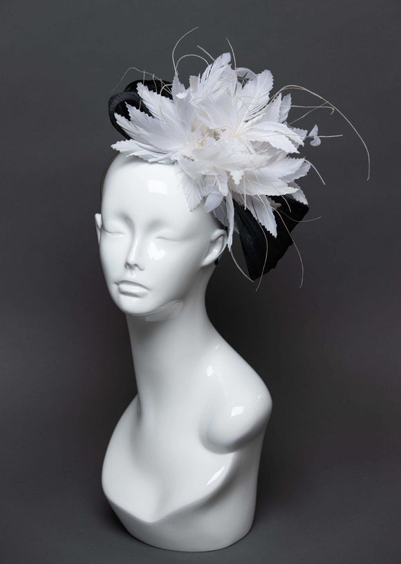 THG2476 - Black and White Silk Abaca and Feather Fascinator
