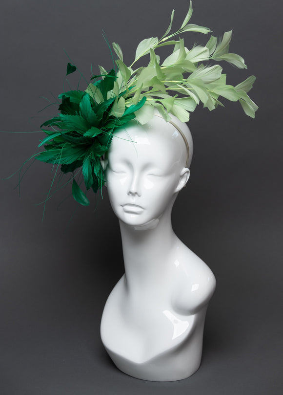 THG2558 - Kelly Green and Mint Green Feather Fascinator