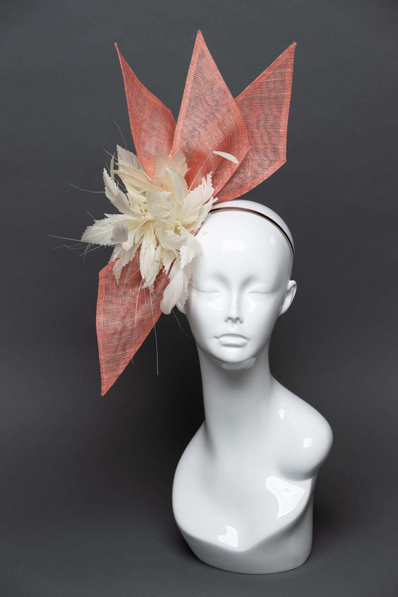 THG2494 - Coral and Ivory Fascinator