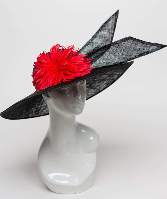 THG2288 - Black Sinamay Hat with Red Feather Flower - The Hat Girls