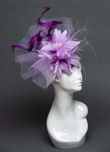 THG2233 - Light Purple Crinoline Fascinator with Goose and Pheasant Feathers