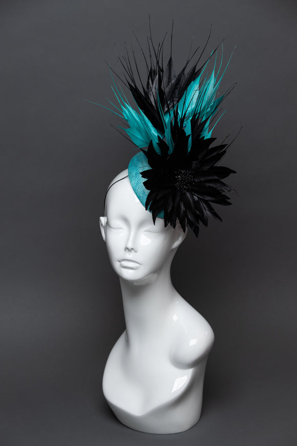 THG2576 - Teal and Black Floral, Feather Fascinator