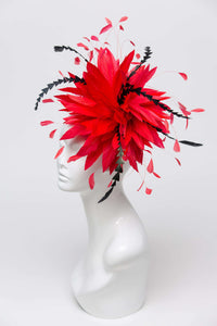 THG2402 - Red Goose Feather Fascinator with Black Accents [Piper]