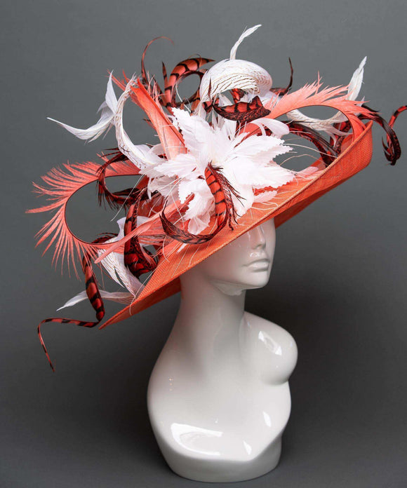 THG2313 - Coral Sinamay Derby Hat