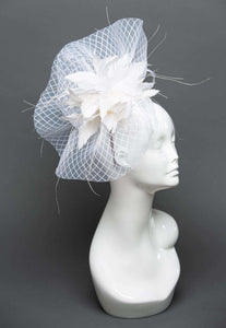 THG2339 - Patterned White Crinoline Fascinator with White Goose Feathers - The Hat Girls