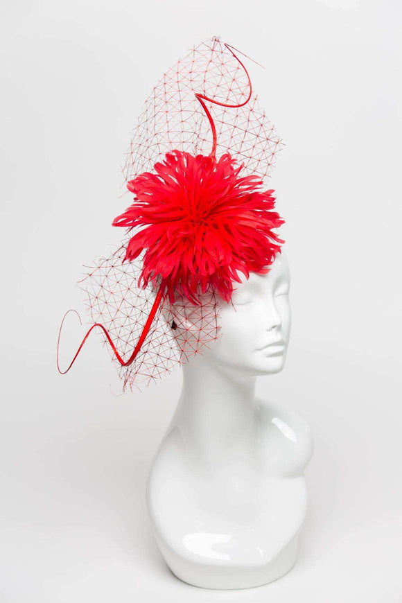 THG2293 - Red Feather Fascinator with Netting - The Hat Girls