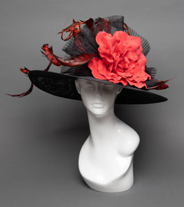 THG2800 - Black and Red Hat w/ Feathers