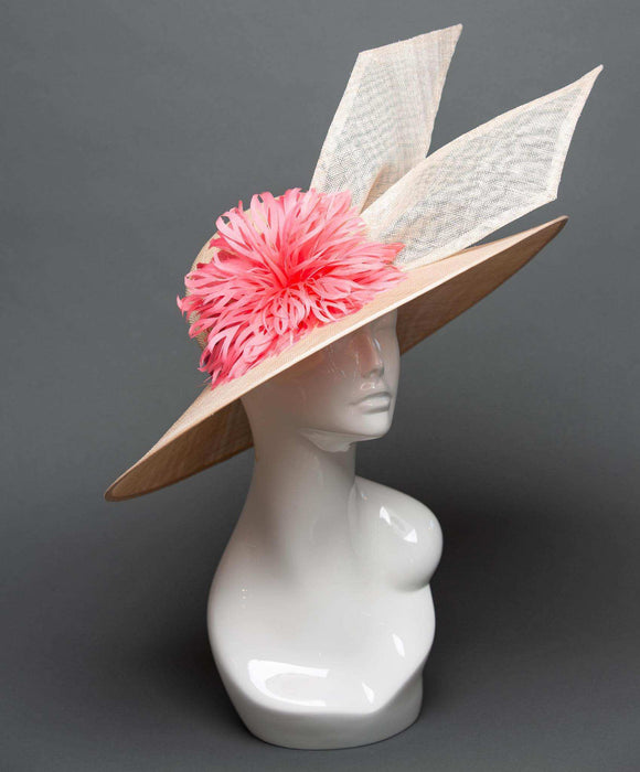 THG2312 - Nude and Pink Derby Hat