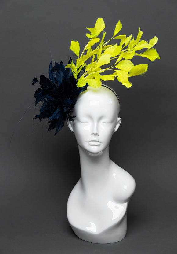 THG2555 - Navy Blue and Neon Green Feather Fascinator