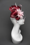 THG2635 - Maroon Silk Abaca Fascinator w/ Light Pink Feather Flower