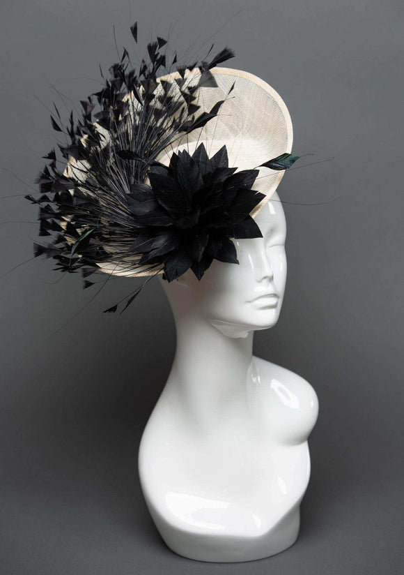 THG2328 - Off-White Sinamay Fascinator with Black Feather Flower - The Hat Girls