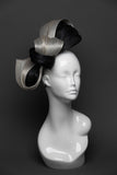 THG2646 - Black and Silver/Grey Silk Abaca Fascinator