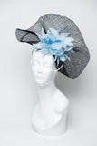 THG2638 - Black Sinamay Fascinator w/ Baby Blue Feathers