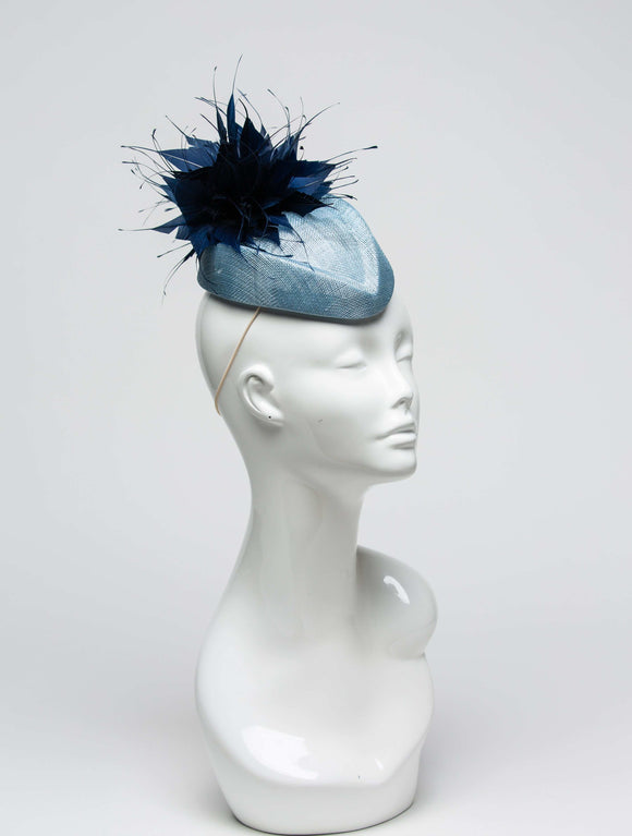 THG2021 - Pale Blue Sinamay Cocktail Base with Navy Blue Spiky Feather Design