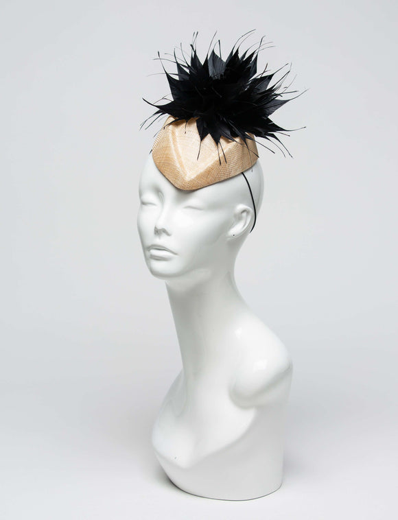 THG2022 - Nude Sinamay Fascinator with Spiky Black Feather Design - The Hat Girls